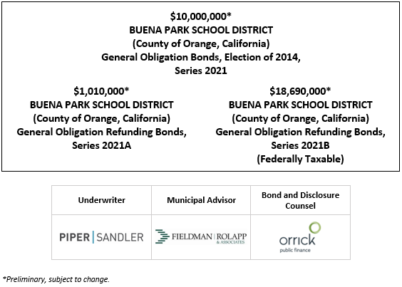 $10,000,000* BUENA PARK SCHOOL DISTRICT (County of Orange, California) General Obligation Bonds, Election of 2014, Series 2021 $1,010,000* BUENA PARK SCHOOL DISTRICT (County of Orange, California) General Obligation Refunding Bonds, Series 2021A $18,690,000* BUENA PARK SCHOOL DISTRICT (County of Orange, California) General Obligation Refunding Bonds, Series 2021B (Federally Taxable) POS POSTED 4-22-21