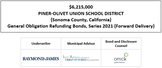 $6,215,000 PINER-OLIVET UNION SCHOOL DISTRICT (Sonoma County, California) General Obligation Refunding Bonds, Series 2021 (Forward Delivery) FOS POSTED 4-16-21