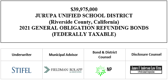 $39,975,000 JURUPA UNIFIED SCHOOL DISTRICT (Riverside County, California) 2021 GENERAL OBLIGATION REFUNDING BONDS (FEDERALLY TAXABLE) FOS POSTED 4-20-21