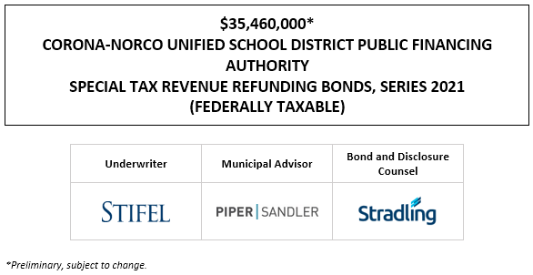 $35,460,000* CORONA-NORCO UNIFIED SCHOOL DISTRICT PUBLIC FINANCING AUTHORITY SPECIAL TAX REVENUE REFUNDING BONDS, SERIES 2021 (FEDERALLY TAXABLE) POS POSTED 4-15-21