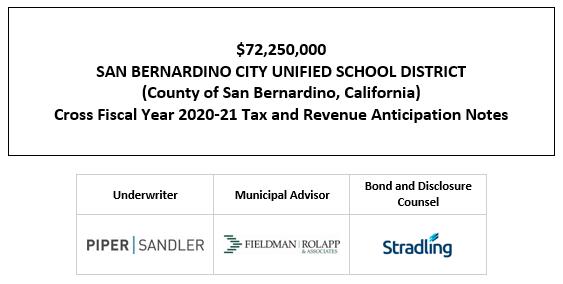 $72,250,000 SAN BERNARDINO CITY UNIFIED SCHOOL DISTRICT (County of San Bernardino, California) Cross Fiscal Year 2020-21 Tax and Revenue Anticipation Notes FOS POSTED 4-27-21