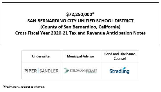 $72,250,000* SAN BERNARDINO CITY UNIFIED SCHOOL DISTRICT (County of San Bernardino, California) Cross Fiscal Year 2020-21 Tax and Revenue Anticipation Notes POS POSTED 4-15-21