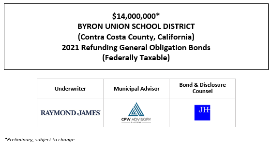 $14,000,000* BYRON UNION SCHOOL DISTRICT (Contra Costa County, California) 2021 Refunding General Obligation Bonds (Federally Taxable) POS POSTED 4-16-21