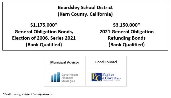 Beardsley School District (Kern County, California) $1,175,000* General Obligation Bonds, Election of 2006, Series 2021 (Bank Qualified) $3,150,000* 2021 General Obligation Refunding Bonds (Bank Qualified) POS POSTED 4-16-21