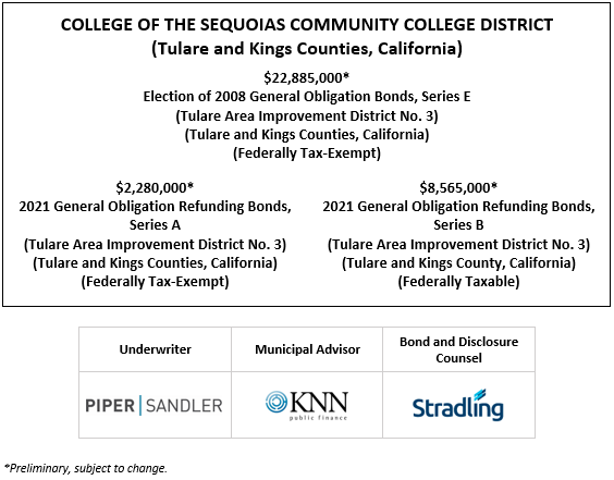 COLLEGE OF THE SEQUOIAS COMMUNITY COLLEGE DISTRICT (Tulare and Kings Counties, California) $22,885,000* Election of 2008 General Obligation Bonds, Series E (Tulare Area Improvement District No. 3) (Tulare and Kings Counties, California) (Federally Tax-Exempt)  $2,280,000* 2021 General Obligation Refunding Bonds, Series A (Tulare Area Improvement District No. 3) (Tulare and Kings Counties, California) (Federally Tax-Exempt)$8,565,000* 2021 General Obligation Refunding Bonds, Series B (Tulare Area Improvement District No. 3) (Tulare and Kings County, California) (Federally Taxable) POS POSTED 4-19-21