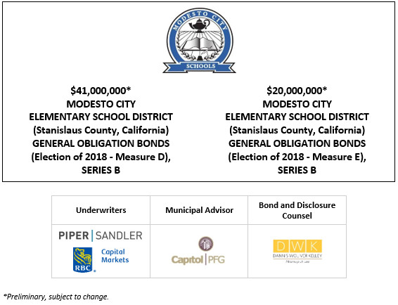 $41,000,000* MODESTO CITY ELEMENTARY SCHOOL DISTRICT (Stanislaus County, California) GENERAL OBLIGATION BONDS (Election of 2018 – Measure D), SERIES B $20,000,000* MODESTO CITY ELEMENTARY SCHOOL DISTRICT (Stanislaus County, California) GENERAL OBLIGATION BONDS (Election of 2018 – Measure E), SERIES B POS POSTED 4-21-21
