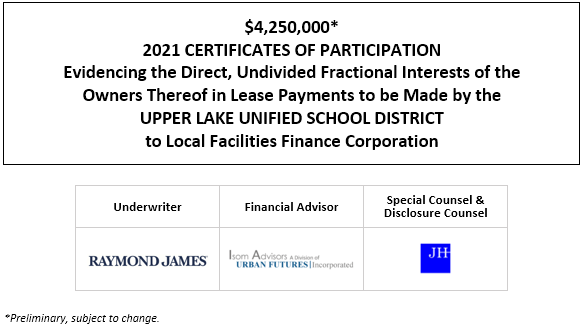 $4,250,000* 2021 CERTIFICATES OF PARTICIPATION Evidencing the Direct, Undivided Fractional Interests of the Owners Thereof in Lease Payments to be Made by the UPPER LAKE UNIFIED SCHOOL DISTRICT to Local Facilities Finance Corporation POS POSTED 4-22-21