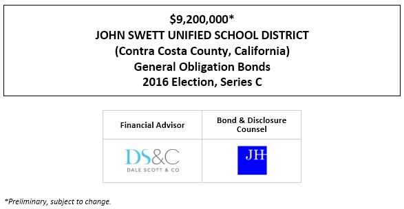 $9,200,000* JOHN SWETT UNIFIED SCHOOL DISTRICT (Contra Costa County, California) General Obligation Bonds 2016 Election, Series C POS POSTED 4-22-21