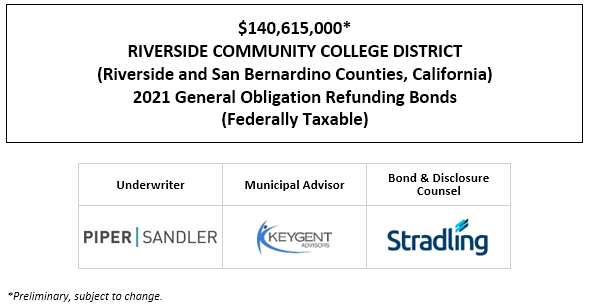 $140,615,000* RIVERSIDE COMMUNITY COLLEGE DISTRICT (Riverside and San Bernardino Counties, California) 2021 General Obligation Refunding Bonds (Federally Taxable) POS POSTED 4-28-21