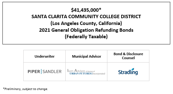 $41,435,000* SANTA CLARITA COMMUNITY COLLEGE DISTRICT (Los Angeles County, California) 2021 General Obligation Refunding Bonds (Federally Taxable) POS POSTED 4-29-21