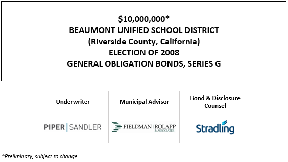 $10,000,000* BEAUMONT UNIFIED SCHOOL DISTRICT (Riverside County, California) ELECTION OF 2008 GENERAL OBLIGATION BONDS, SERIES G POS POSTED 4-29-21