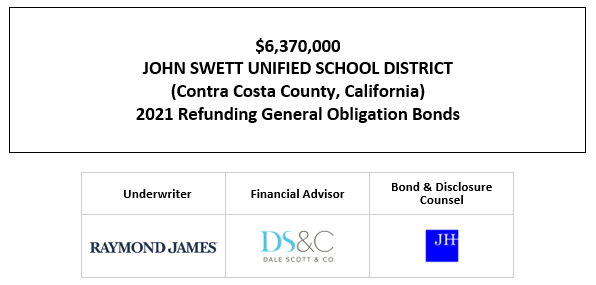 $6,370,000 JOHN SWETT UNIFIED SCHOOL DISTRICT (Contra Costa County, California) 2021 Refunding General Obligation Bonds FOS POSTED 4-20-21