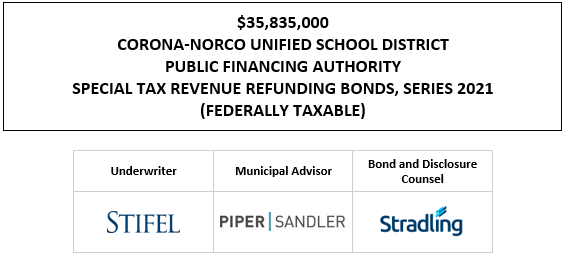 $35,835,000 CORONA-NORCO UNIFIED SCHOOL DISTRICT PUBLIC FINANCING AUTHORITY SPECIAL TAX REVENUE REFUNDING BONDS, SERIES 2021 (FEDERALLY TAXABLE) FOS POSTED 5-1-21