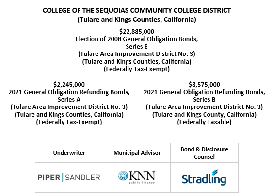COLLEGE OF THE SEQUOIAS COMMUNITY COLLEGE DISTRICT (Tulare and Kings Counties, California) $22,885,000 Election of 2008 General Obligation Bonds, Series E (Tulare Area Improvement District No. 3) (Tulare and Kings Counties, California) (Federally Tax-Exempt) FOS POSTED 5-5-21