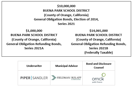 $10,000,000 BUENA PARK SCHOOL DISTRICT (County of Orange, California) General Obligation Bonds, Election of 2014, Series 2021 FOS POSTED 5-4-21