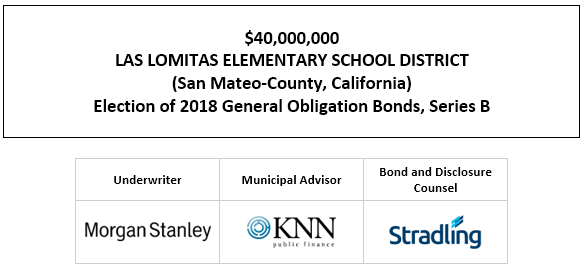 $40,000,000 LAS LOMITAS ELEMENTARY SCHOOL DISTRICT (San Mateo-County, California) Election of 2018 General Obligation Bonds, Series B FOS POSTED 5-11-21