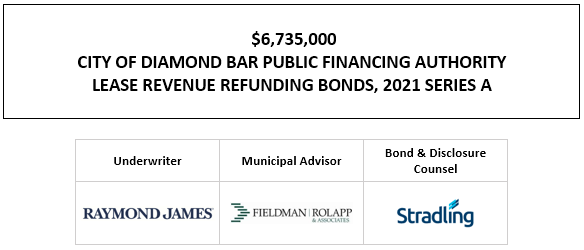$6,735,000 CITY OF DIAMOND BAR PUBLIC FINANCING AUTHORITY LEASE REVENUE REFUNDING BONDS, 2021 SERIES A FOS POSTED 5-19-21
