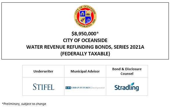 $8,950,000* CITY OF OCEANSIDE WATER REVENUE REFUNDING BONDS, SERIES 2021A (FEDERALLY TAXABLE) POS POSTED 5-6-21