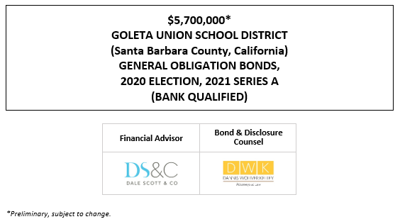 $5,700,000* GOLETA UNION SCHOOL DISTRICT (Santa Barbara County, California) GENERAL OBLIGATION BONDS, 2020 ELECTION, 2021 SERIES A (BANK QUALIFIED) POS POSTED 5-10-21
