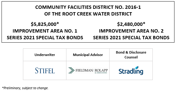 COMMUNITY FACILITIES DISTRICT NO. 2016-1 OF THE ROOT CREEK WATER DISTRICT $5,825,000* IMPROVEMENT AREA NO. 1 SERIES 2021 SPECIAL TAX BONDS $2,480,000* IMPROVEMENT AREA NO. 2 SERIES 2021 SPECIAL TAX BONDS POS POSTED 5-13-21