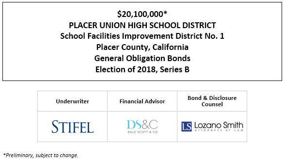 $20,100,000* PLACER UNION HIGH SCHOOL DISTRICT School Facilities Improvement District No. 1 Placer County, California General Obligation Bonds Election of 2018, Series B POS POSTED 5-13-21