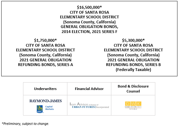 $16,500,000* CITY OF SANTA ROSA ELEMENTARY SCHOOL DISTRICT (Sonoma County, California) GENERAL OBLIGATION BONDS, 2014 ELECTION, 2021 SERIES F  $1,750,000* CITY OF SANTA ROSA ELEMENTARY SCHOOL DISTRICT (Sonoma County, California) 2021 GENERAL OBLIGATION REFUNDING BONDS, SERIES A $5,300,000* CITY OF SANTA ROSA ELEMENTARY SCHOOL DISTRICT (Sonoma County, California) 2021 GENERAL OBLIGATION REFUNDING BONDS, SERIES B (Federally Taxable) POS POSTED 5-13-21