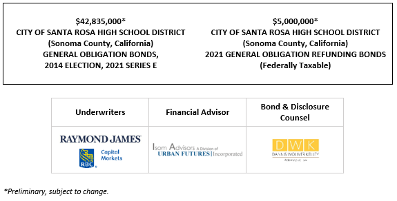 42,835,000* CITY OF SANTA ROSA HIGH SCHOOL DISTRICT (Sonoma County, California) GENERAL OBLIGATION BONDS, 2014 ELECTION, 2021 SERIES E $5,000,000* CITY OF SANTA ROSA HIGH SCHOOL DISTRICT (Sonoma County, California) 2021 GENERAL OBLIGATION REFUNDING BONDS (Federally Taxable) POS POSTED 5-13-21