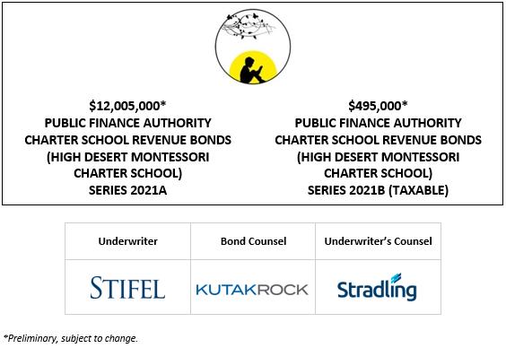 12,005,000* PUBLIC FINANCE AUTHORITY CHARTER SCHOOL REVENUE BONDS (HIGH DESERT MONTESSORI CHARTER SCHOOL) SERIES 2021A $495,000* PUBLIC FINANCE AUTHORITY CHARTER SCHOOL REVENUE BONDS (HIGH DESERT MONTESSORI CHARTER SCHOOL) SERIES 2021B (TAXABLE) PLOM + INVESTOR PRESENTATION POSTED 5-18-21