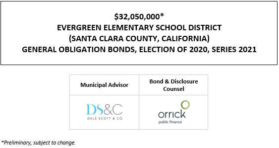SUPPLEMENT TO POS $32,050,000* EVERGREEN ELEMENTARY SCHOOL DISTRICT (SANTA CLARA COUNTY, CALIFORNIA) GENERAL OBLIGATION BONDS, ELECTION OF 2020, SERIES 2021 SUPPLEMENT TO POS POSTED 6-3-21