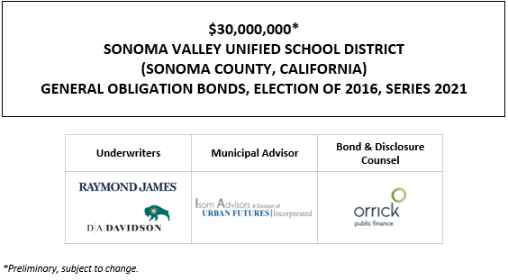 $30,000,000* SONOMA VALLEY UNIFIED SCHOOL DISTRICT (SONOMA COUNTY, CALIFORNIA) GENERAL OBLIGATION BONDS, ELECTION OF 2016, SERIES 2021 POS POSTED 5-19-21