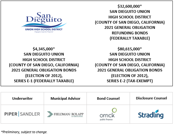 $4,345,000* SAN DIEGUITO UNION HIGH SCHOOL DISTRICT (COUNTY OF SAN DIEGO, CALIFORNIA) 2021 GENERAL OBLIGATION BONDS (ELECTION OF 2012), SERIES E-1 (FEDERALLY TAXABLE) $32,600,000* SAN DIEGUITO UNION HIGH SCHOOL DISTRICT (COUNTY OF SAN DIEGO, CALIFORNIA) 2021 GENERAL OBLIGATION REFUNDING BONDS (FEDERALLY TAXABLE) $80,615,000* SAN DIEGUITO UNION HIGH SCHOOL DISTRICT (COUNTY OF SAN DIEGO, CALIFORNIA) 2021 GENERAL OBLIGATION BONDS (ELECTION OF 2012), SERIES E-2 (TAX-EXEMPT POS POSTED 5-18-21