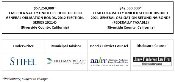 $57,250,000* TEMECULA VALLEY UNIFIED SCHOOL DISTRICT GENERAL OBLIGATION BONDS, 2012 ELECTION, SERIES 2021-D (Riverside County, California) $42,500,000* TEMECULA VALLEY UNIFIED SCHOOL DISTRICT 2021 GENERAL OBLIGATION REFUNDING BONDS (FEDERALLY TAXABLE) (Riverside County, California POS POSTED 5-19-21