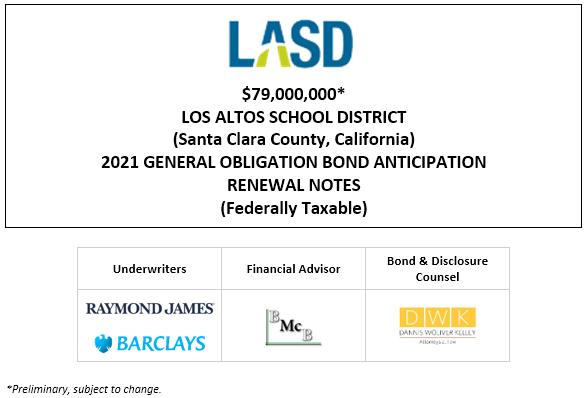 $79,000,000* LOS ALTOS SCHOOL DISTRICT (Santa Clara County, California) 2021 GENERAL OBLIGATION BOND ANTICIPATION RENEWAL NOTES (Federally Taxable)