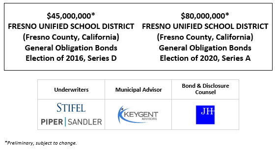 $45,000,000* FRESNO UNIFIED SCHOOL DISTRICT (Fresno County, California) General Obligation Bonds Election of 2016, Series D $80,000,000* FRESNO UNIFIED SCHOOL DISTRICT (Fresno County, California) General Obligation Bonds Election of 2020, Series A POS POSTED 5-25-21