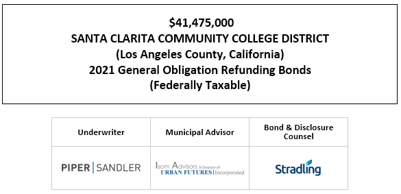$41,475,000 SANTA CLARITA COMMUNITY COLLEGE DISTRICT (Los Angeles County, California) 2021 General Obligation Refunding Bonds (Federally Taxable) FOS POSTED 5-13-21