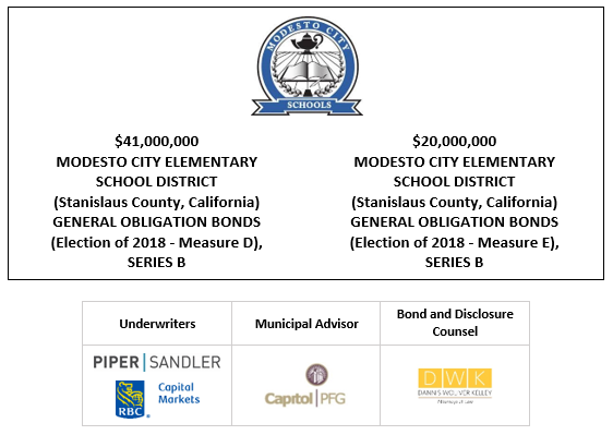$41,000,000 MODESTO CITY ELEMENTARY SCHOOL DISTRICT (Stanislaus County, California) GENERAL OBLIGATION BONDS (Election of 2018 – Measure D), SERIES B $20,000,000 MODESTO CITY ELEMENTARY SCHOOL DISTRICT (Stanislaus County, California) GENERAL OBLIGATION BONDS (Election of 2018 – Measure E), SERIES B FOS POSTED 5-7-21