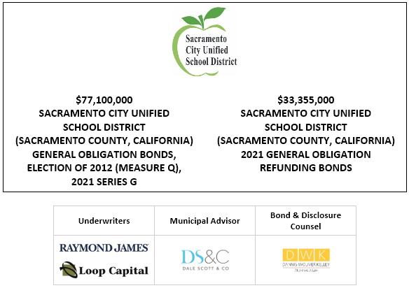 $77,100,000 SACRAMENTO CITY UNIFIED SCHOOL DISTRICT (SACRAMENTO COUNTY, CALIFORNIA) GENERAL OBLIGATION BONDS, ELECTION OF 2012 (MEASURE Q), 2021 SERIES G $33,355,000 SACRAMENTO CITY UNIFIED SCHOOL DISTRICT (SACRAMENTO COUNTY, CALIFORNIA) 2021 GENERAL OBLIGATION REFUNDING BONDS FOS POSTED 6-30-21