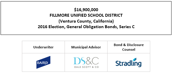 $16,900,000 FILLMORE UNIFIED SCHOOL DISTRICT (Ventura County, California) 2016 Election, General Obligation Bonds, Series C FOS POSTED 6-30-21
