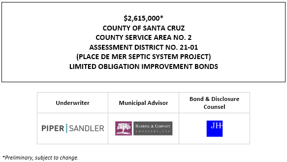 $2,615,000* COUNTY OF SANTA CRUZ COUNTY SERVICE AREA NO. 2 ASSESSMENT DISTRICT NO. 21-01 (PLACE DE MER SEPTIC SYSTEM PROJECT) LIMITED OBLIGATION IMPROVEMENT BONDS POS POSTED 6-30-21