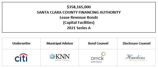 $358,165,000 SANTA CLARA COUNTY FINANCING AUTHORITY Lease Revenue Bonds (Capital Facilities) 2021 Series A FOS POSTED 7-2-21