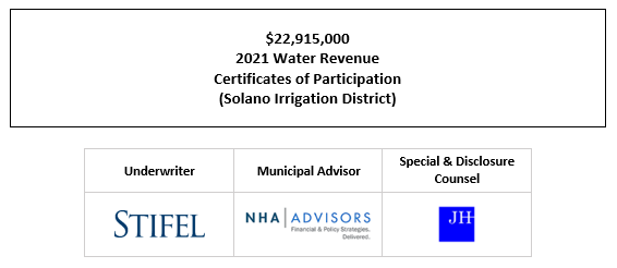 $22,915,000 2021 Water Revenue Certificates of Participation (Solano Irrigation District) FOS POSTED 7-8-21