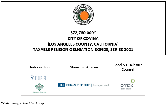$72,760,000* CITY OF COVINA (LOS ANGELES COUNTY, CALIFORNIA) TAXABLE PENSION OBLIGATION BONDS, SERIES 2021 POS POSTED 7-2-21