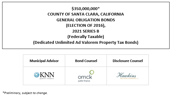 $350,000,000* COUNTY OF SANTA CLARA, CALIFORNIA GENERAL OBLIGATION BONDS (ELECTION OF 2016), 2021 SERIES B (Federally Taxable) (Dedicated Unlimited Ad Valorem Property Tax Bonds) POS POSTED 7-6-21