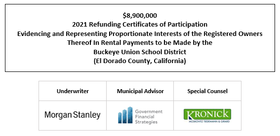 $8,900,000 2021 Refunding Certificates of Participation Evidencing and Representing Proportionate Interests of the Registered Owners Thereof In Rental Payments to be Made by the Buckeye Union School District (El Dorado County, California) FOS POSTED 7-20-21