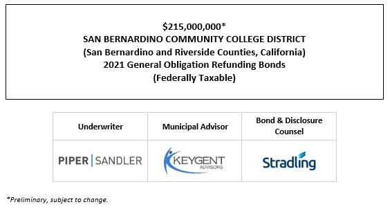 $215,000,000* SAN BERNARDINO COMMUNITY COLLEGE DISTRICT (San Bernardino and Riverside Counties, California) 2021 General Obligation Refunding Bonds (Federally Taxable) POS POSTED 7-9-21