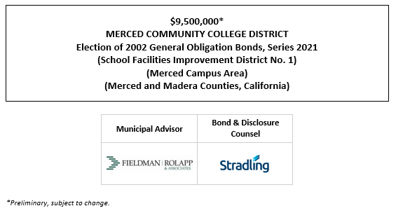 $9,500,000* MERCED COMMUNITY COLLEGE DISTRICT Election of 2002 General Obligation Bonds, Series 2021 (School Facilities Improvement District No. 1) (Merced Campus Area) (Merced and Madera Counties, California) POS POSTED 7-14-21