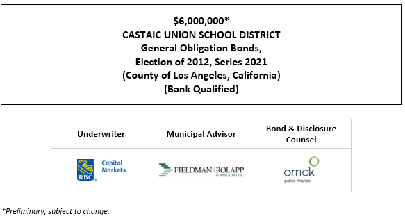 $6,000,000* CASTAIC UNION SCHOOL DISTRICT General Obligation Bonds, Election of 2012, Series 2021 (County of Los Angeles, California) (Bank Qualified) POS POSTED 7-14-21
