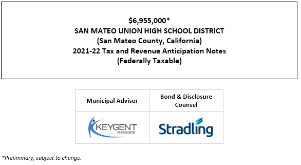 $6,955,000* SAN MATEO UNION HIGH SCHOOL DISTRICT (San Mateo County, California) 2021-22 Tax and Revenue Anticipation Notes (Federally Taxable) POS POSTED 7-14-21