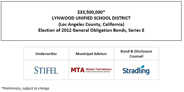 SUPPLEMENT TO THE PRELIMINARY OFFICIAL STATEMENT relating to $33,500,000* LYNWOOD UNIFIED SCHOOL DISTRICT (Los Angeles County, California) Election of 2012 General Obligation Bonds, Series E SUPPLEMENT TO POS POSTED 7-19-21