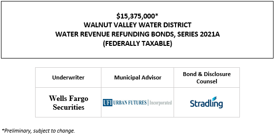 $15,375,000* WALNUT VALLEY WATER DISTRICT WATER REVENUE REFUNDING BONDS, SERIES 2021A (FEDERALLY TAXABLE) POS POSTED 7-21-21